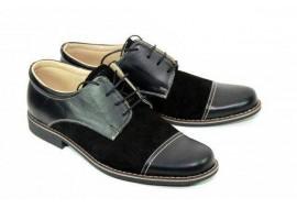 Pantofi negri barbati casual, eleganti din piele naturala PANNS