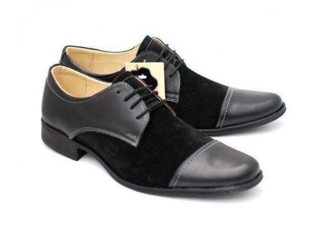 Pantofi negri barbati casual - eleganti din piele naturala 959N