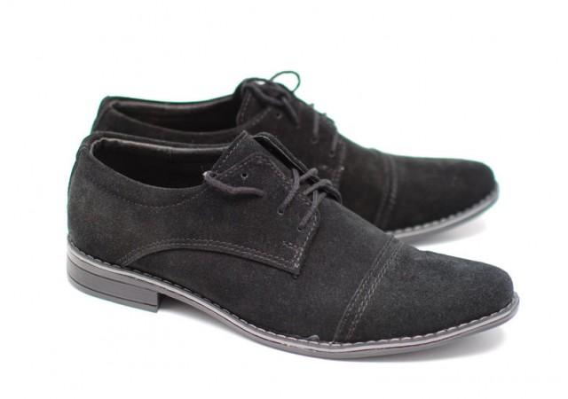 Pantofi negri casual - eleganti barbatesti din piele intoarsa cu siret PHVELURNSIRETVF