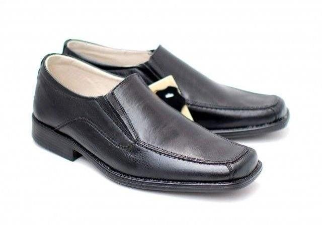 Pantofi negri eleganti barbatesti din piele naturala cu elastic 805NEL