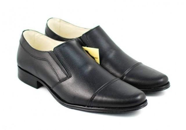 Pantofi barbati eleganti din piele naturala, cu elastic P61NEL