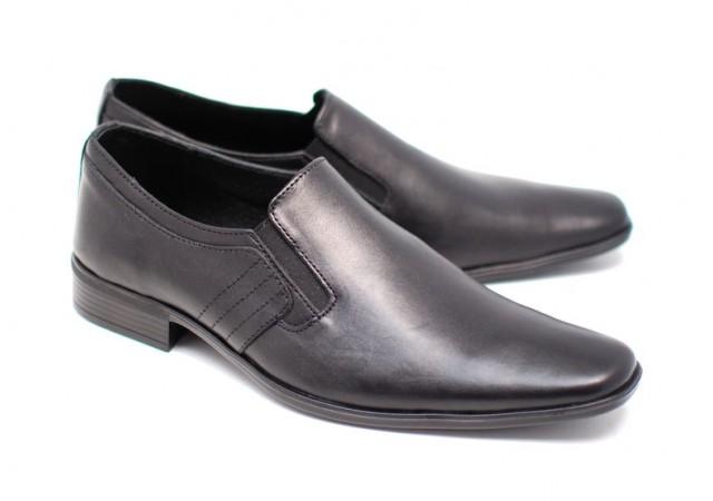 Pantofi negri eleganti barbatesti din piele naturala cu elastic PHMARCONELASTIC