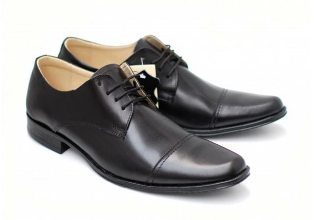 Pantofi negri eleganti barbatesti din piele naturala cu siret MARCONBOX