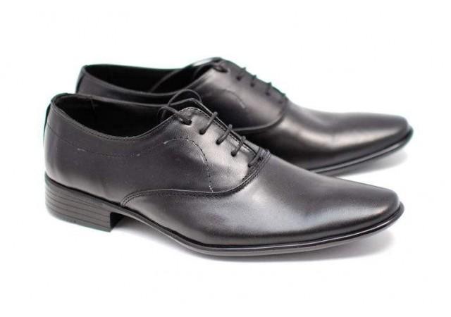 Pantofi negri eleganti barbatesti din piele naturala cu siret PH801PNEGRUS