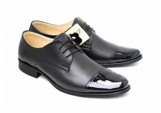 Pantofi negri eleganti barbatesti din piele naturala cu varf lacuit 959VFL