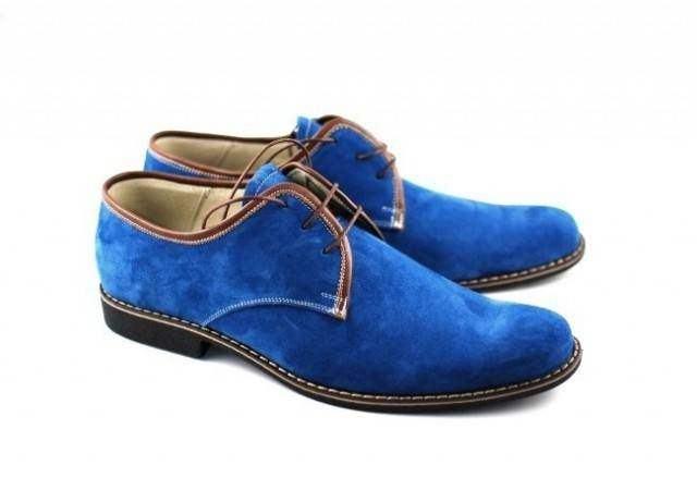 Pantofi barbati casual, eleganti din piele naturala (Intoarsa) Bleumarin P34MBL