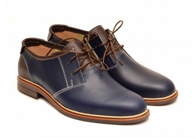 Oferta marimea 43 - Pantofi barbati, piele naturala, bleumarin cu siret, cod produs - LP122MBL