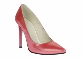 Pantofi stiletto dama roz, din piele naturala lucioasa, toc 9 cm - NA978