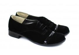 Oferta marimea 39 - Pantofi dama, casual, negri, din piele naturala (Intoarsa) - LMINAN