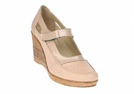 Pantofi dama cu platforma din piele naturala, foarte comozi - P9154BEJ