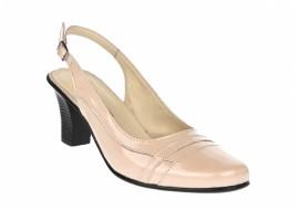 Pantofi dama decupati, eleganti, din piele naturala, cu toc - S301BEJ