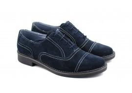 Oferta marimea 38, pantofi barbati eleganti din piele naturala bleumarin, LP32BL