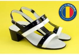 Lichidare marimea 38 Sandale dama din piele naturala cu toc de 5cm - LS7LACNA