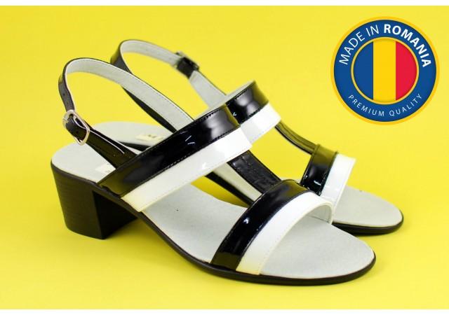 Sandale dama din piele naturala cu toc de 5cm - S7LACNA