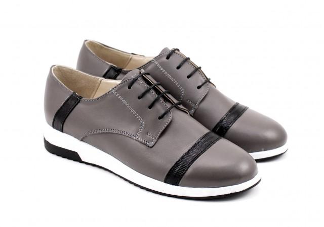 Pantofi dama sport - casual din piele naturala, cu siret  - P79GRI