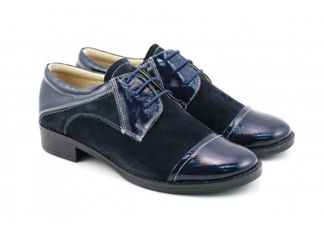 Lichidare de stoc! Pantofi dama casual din piele naturala bleumarin P650NOUBLM Marimea 36