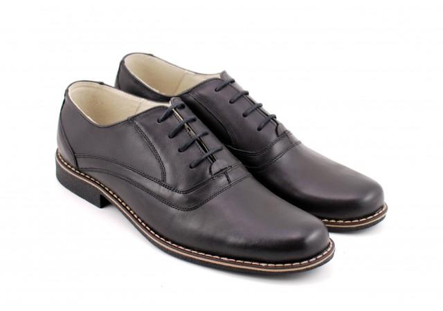 Oferta marimea 39, pantofi barbati casual din piele naturala, culoare neagra LP37NN