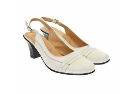 Oferta marimea 37 - Pantofi dama cu defect, din piele naturala, inaltime toc 7 cm, albi -  LS301AA