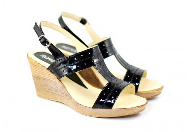 Sandale dama din piele naturala cu platforma de 7 cm S300NEGRULAC