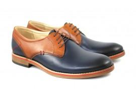 Pantofi barbati casual din piele naturala bleumarin cu maro - SIRNEVERMBLM