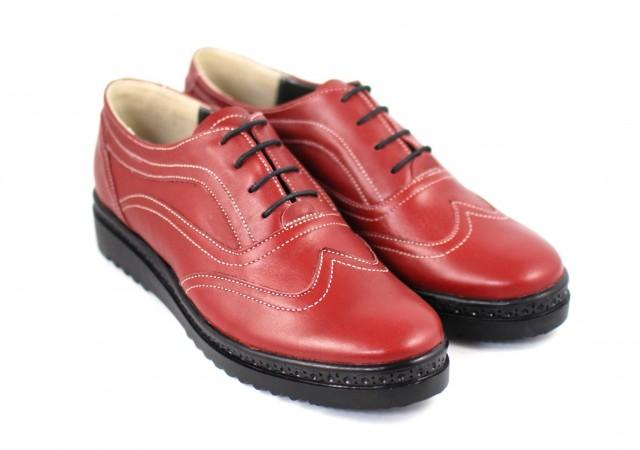 Pantofi dama casual din piele naturala grena P29V