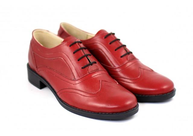 Pantofi dama casual din piele naturala grena P29GRENA