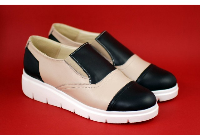 Pantofi dama casual din piele naturala de culoare bej - RUT4BN