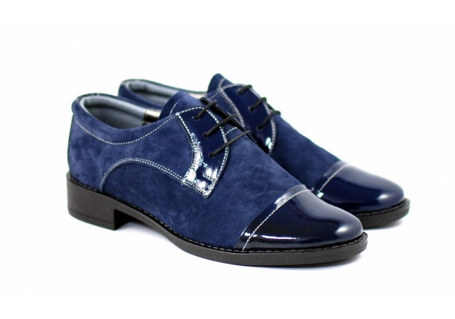 Pantofi dama casual din piele naturala bleumarin - P10LVELBLM