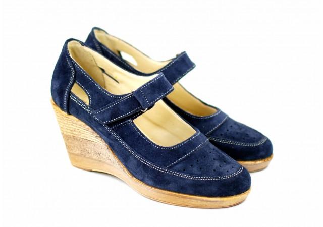 Pantofi dama cu platforma din piele naturala, foarte comozi - P9154VELBLM
