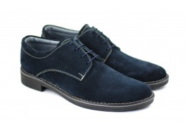 Pantofi barbati casual, eleganti din piele naturala intoarsa bleumarin - PAVELBLM
