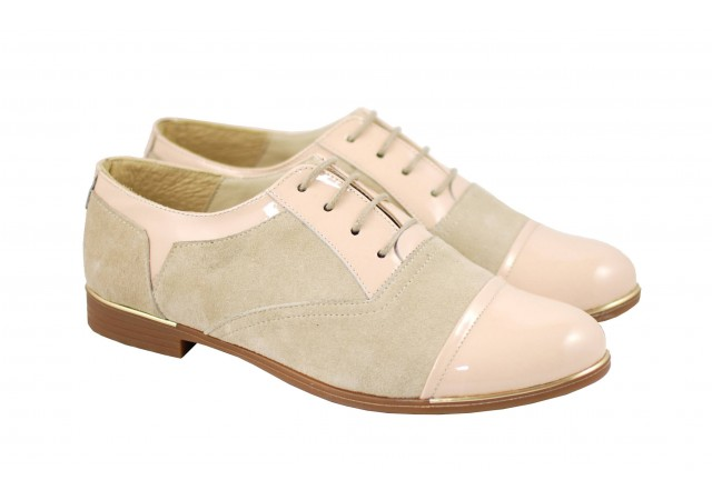 Pantofi dama casual din piele naturala BEJ - RUT2LACBEJ