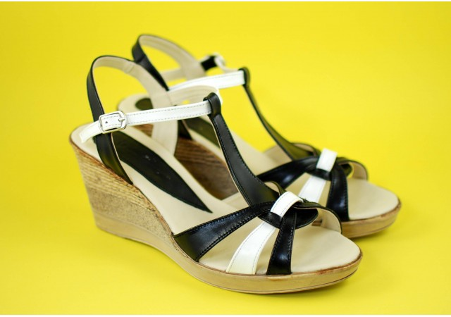 Sandale dama din piele naturala, cu platforma - S51NA