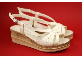 Oferta marimea 40 Sandale dama din piele naturala, cu platforme de 5cm - LS36BEJINALT