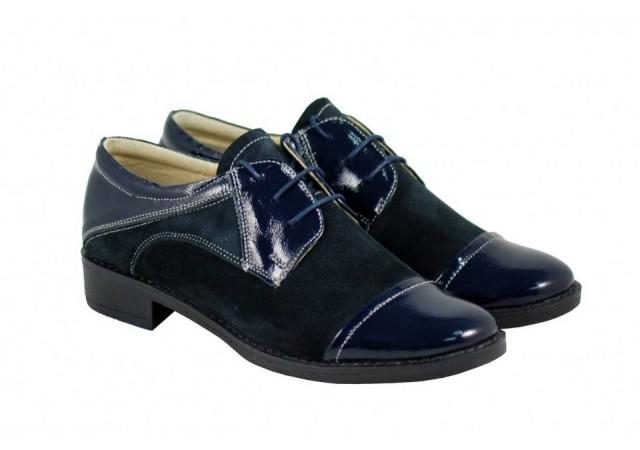 Pantofi dama albastri casual din piele naturala lac+velur ROV650LACVELA