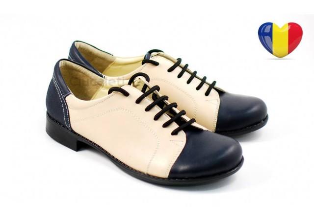 Pantofi dama casual din piele naturala (albastru cu bej) Cod: P53BLBEJ