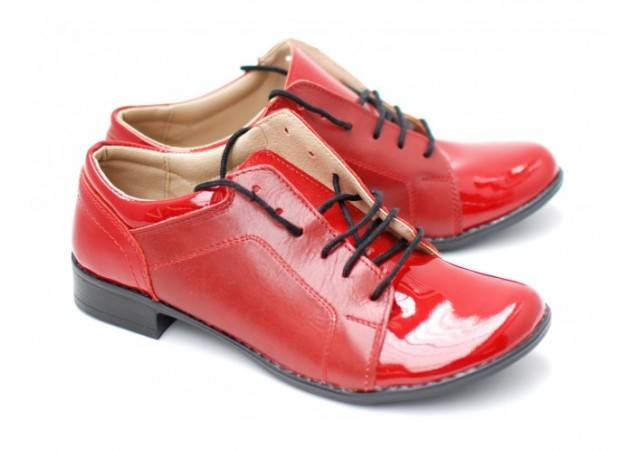 Pantofi dama casual piele naturala - Rosu - Made in Romania DAMABOXLACROSU