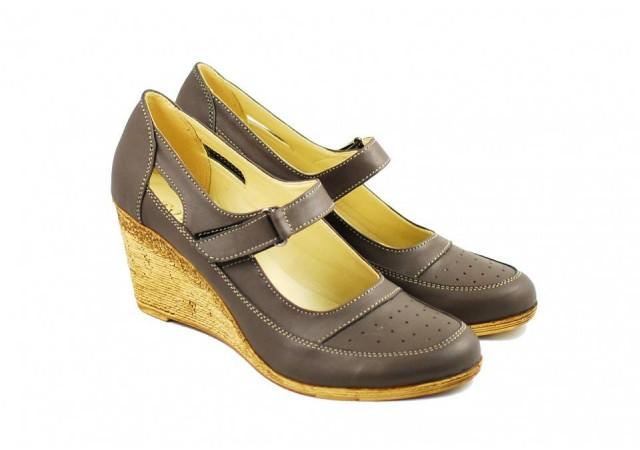 Pantofi dama cu platforma din piele naturala - Foarte comozi P9154G