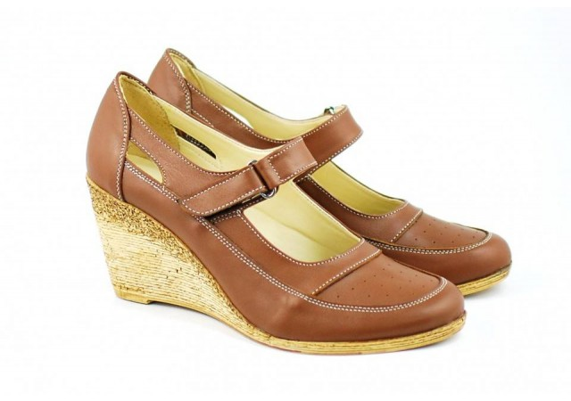 Pantofi dama cu platforma din piele naturala - Foarte comozi P9154MBOX