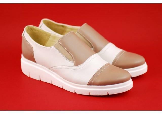 Pantofi dama din piele naturala de culoare bej - ROV4BB