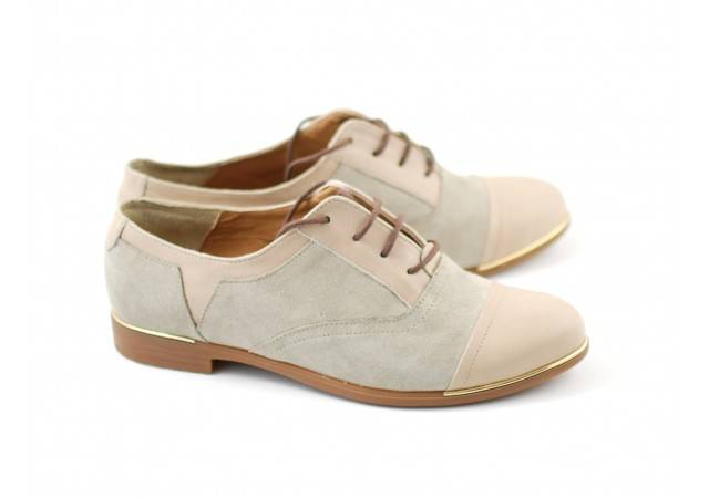 Pantofi dama din piele naturala BEJ - Cod RUT2