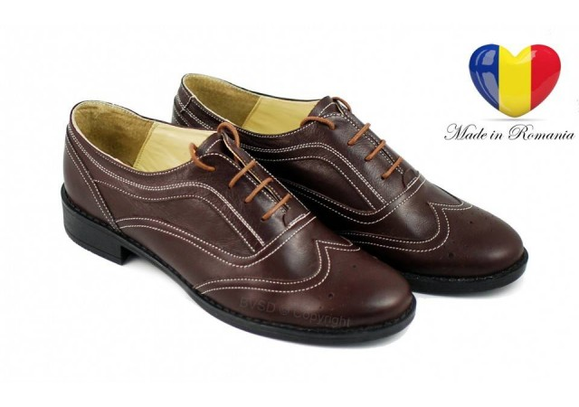 Pantofi dama maro casual din piele naturala Cod P29M