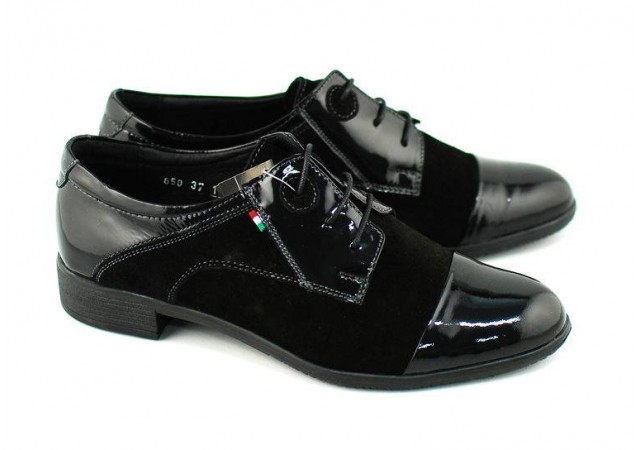 Pantofi dama negri casual din piele naturala lac+velur ROV650LACVELN