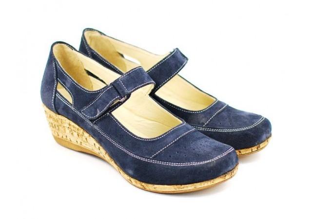 Pantofi dama piele intoarsa cu platforma, casual bleumarin - FOARTE COMOZI - P9154VELBL