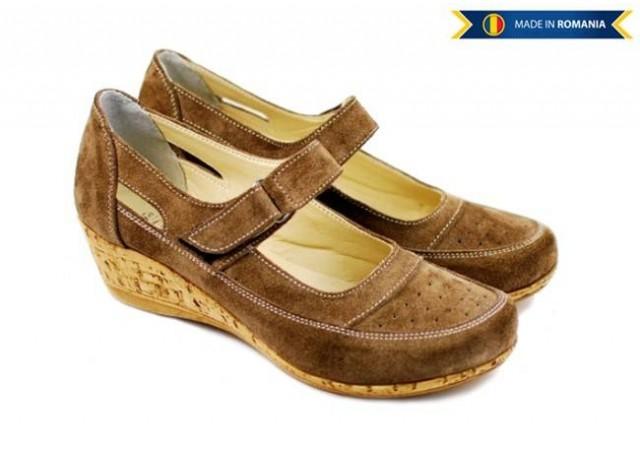 Pantofi dama piele intoarsa cu platforma, casual maro - P9154M