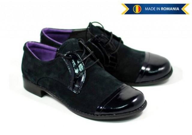 Pantofi dama piele intoarsa cu varf lacuit, casual P61
