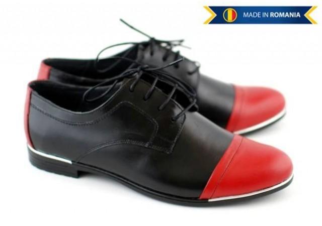 Pantofi dama piele naturala, casual (negru cu rosu) - FOARTE COMOZI P64