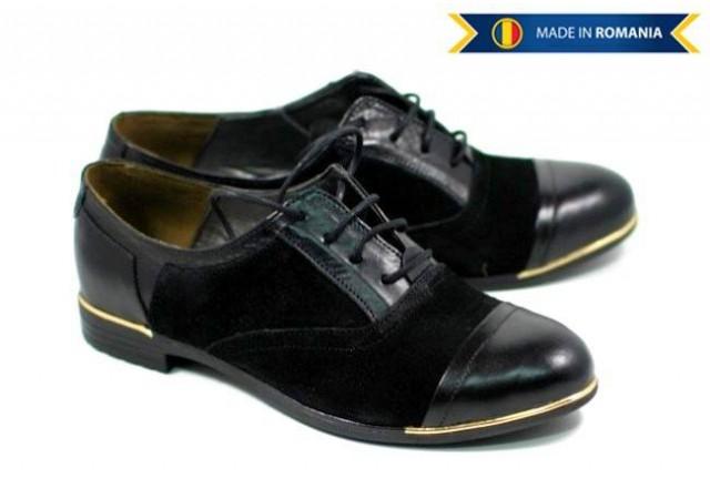 Pantofi dama piele naturala intoarsa, casual P60
