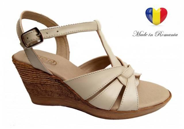 Sandale dama din piele naturala cu platforma - 15ELYB