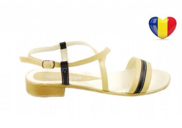Sandale dama din piele naturala cu platforma joasa - cod ROV23S