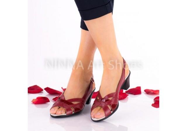 Sandale dama, rosii, din piele naturala lacuita - NA229ROSU